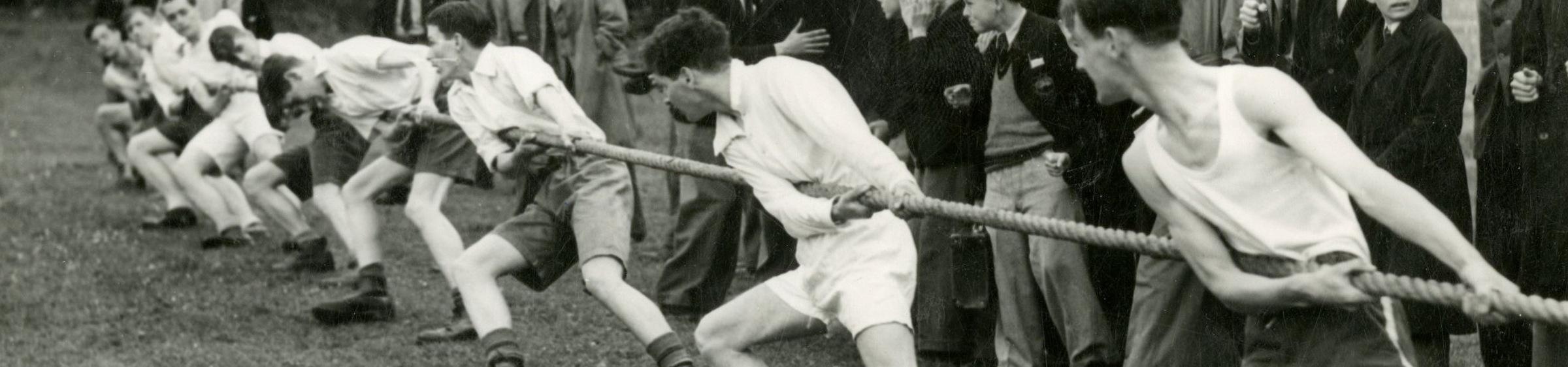 Men playing tug of war