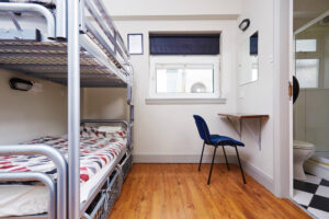 Dorm room in a hostel