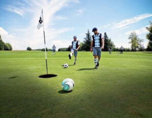 Two men playing foot golf