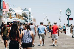 Crowd at a beach town